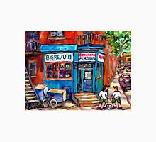 PAINTINGS OF KIDS PLAYING SOCCER NEAR MONTREAL DEPANNEUR BERNARD AND JEANNE MANCE Unisex T-Shirt