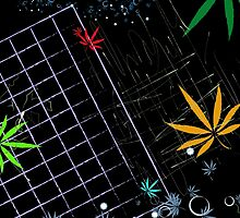 Colorful Marijuana Leaves and Grid by NataliSven