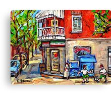 PAINTINGS OF LITTLE ITALY MONTREAL DEPANNEUR WITH SOCCER Canvas Print