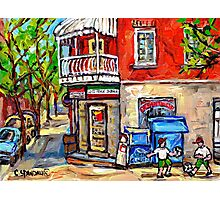 PAINTINGS OF LITTLE ITALY MONTREAL DEPANNEUR WITH SOCCER Photographic Print