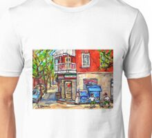 PAINTINGS OF LITTLE ITALY MONTREAL DEPANNEUR WITH SOCCER Unisex T-Shirt