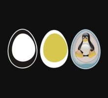 LINUX TUX  PENGUIN  3 EGGS One Piece - Long Sleeve