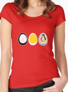 LINUX TUX  PENGUIN  3 EGGS Women's Fitted Scoop T-Shirt