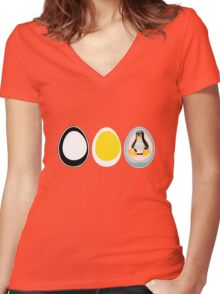 LINUX TUX  PENGUIN  3 EGGS Women's Fitted V-Neck T-Shirt