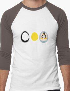 LINUX TUX  PENGUIN  3 EGGS Men's Baseball ¾ T-Shirt