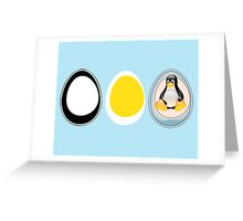 LINUX TUX  PENGUIN  3 EGGS Greeting Card