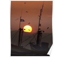 Sunset between the masts Poster