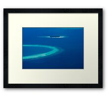 Drone view over North Ari Atolls in the Maldives - Eden on Earth Framed Print