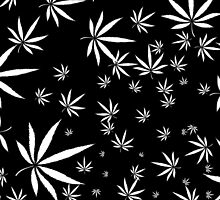 White Marijuana Leaves by NataliSven
