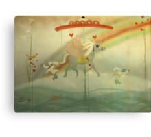 Snow riding my dreams whimsy love carrousel  Canvas Print