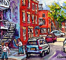 BASEBALL PAINTING AT CORNER OF  LOGAN AND PANET STREETS BEST MONTREAL ART SUMMER SCENES by Carole  Spandau
