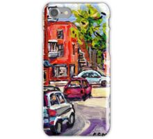BASEBALL PAINTING AT CORNER OF  LOGAN AND PANET STREETS BEST MONTREAL ART SUMMER SCENES iPhone Case/Skin