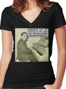 Richard Nixon sings Cheezrus Just Left Chicago Women's Fitted V-Neck T-Shirt
