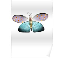 Butterfly delicate gorgeous aqua polka dots transparency  Poster