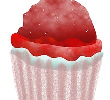 Delicious cupcake strawberry chocolate chips vanilla cream blueberry fruit pink ribbon by Ruth Fitta-Schulz