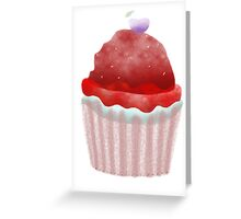 Delicious cupcake strawberry chocolate chips vanilla cream blueberry fruit pink ribbon Greeting Card