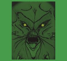Green Demon with yellow glowing eyes by stitchgrin