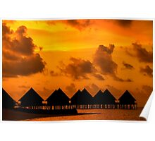 Golden Sunset in the Maldives Poster