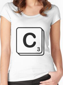 C scrabble print Women's Fitted Scoop T-Shirt