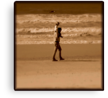 Sepia Extravaganza : Father And Daughter Canvas Print