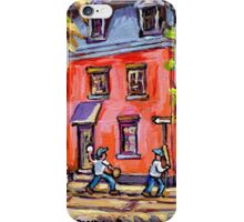 KIDS BASEBALL PAINTING FUN TIME ON QUIET MONTREAL STREET BEST CANADIAN ART iPhone Case/Skin