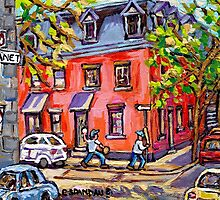 KIDS BASEBALL PAINTING FUN TIME ON QUIET MONTREAL STREET BEST CANADIAN ART by Carole  Spandau