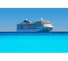Luxury cruise ship in the Caribbean Photographic Print