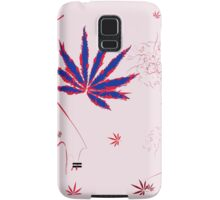 Crazy Marijuana Leaves and Scratches on Pink Samsung Galaxy Case/Skin
