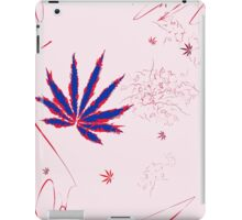 Crazy Marijuana Leaves and Scratches on Pink iPad Case/Skin