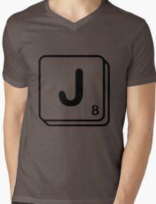 J scrabble print Mens V-Neck T-Shirt