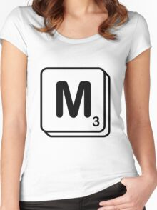 M scrabble print Women's Fitted Scoop T-Shirt