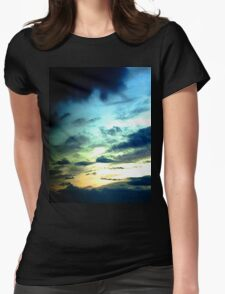 Green Sunset Womens Fitted T-Shirt