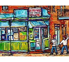 MONTREAL SUMMER SCENE PAINTINGS PLACE DUFRESNE DEPANNEUR  Photographic Print