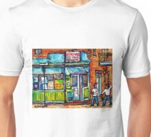 MONTREAL SUMMER SCENE PAINTINGS PLACE DUFRESNE DEPANNEUR  Unisex T-Shirt
