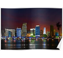Miami City by Night Poster