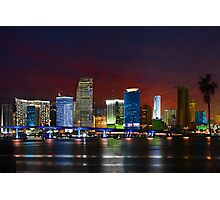 Miami City by Night Photographic Print