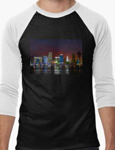 Miami City by Night Men's Baseball ¾ T-Shirt