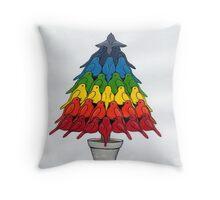 Rainbow Robins Christmas Tree Throw Pillow