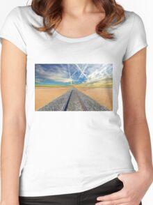 Railroad tracks in Mojave Desert California Women's Fitted Scoop T-Shirt