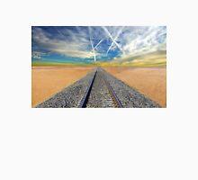 Railroad tracks in Mojave Desert California T-Shirt