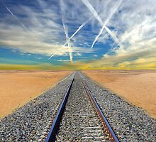 Railroad tracks in Mojave Desert California by Atanas Bozhikov Nasko
