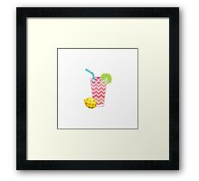 Cute Pink Chevron Lemonade with Lime Slice Framed Print