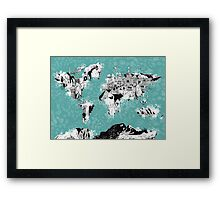 World Map landmarks Framed Print