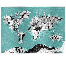World Map landmarks Poster