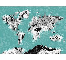 World Map landmarks Photographic Print