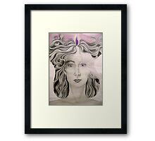 Angel of the Violet Flame pencil and pasel on paper Framed Print