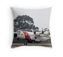 Coast Guard Foggy Takeoff Throw Pillow