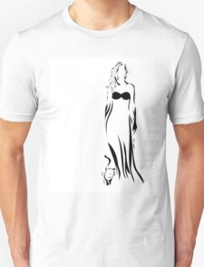 Young beauty woman and her cat Unisex T-Shirt