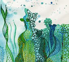 ocean water colour and ink by marianabeldi