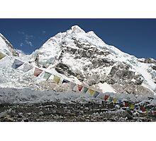 Mt. Nuptse 7855 m. & payer flag at Mt. Everest Base Camp Photographic Print